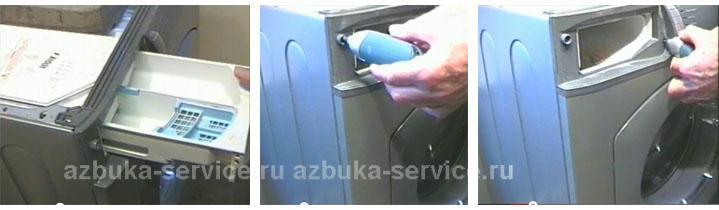 Выкручивание винтов крепления панели управления стиральной машины Аристон