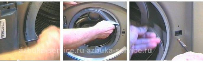 Снятие переднего хомута уплотнительной резины дверцы.