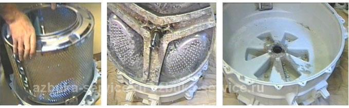 Отсоединение барабана от бака стиральной машины.